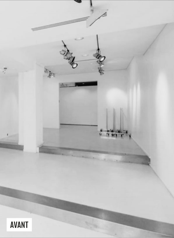 Label Experience: Image en noir et blanc avant la création du pop-up store « Montagut » à Paris.