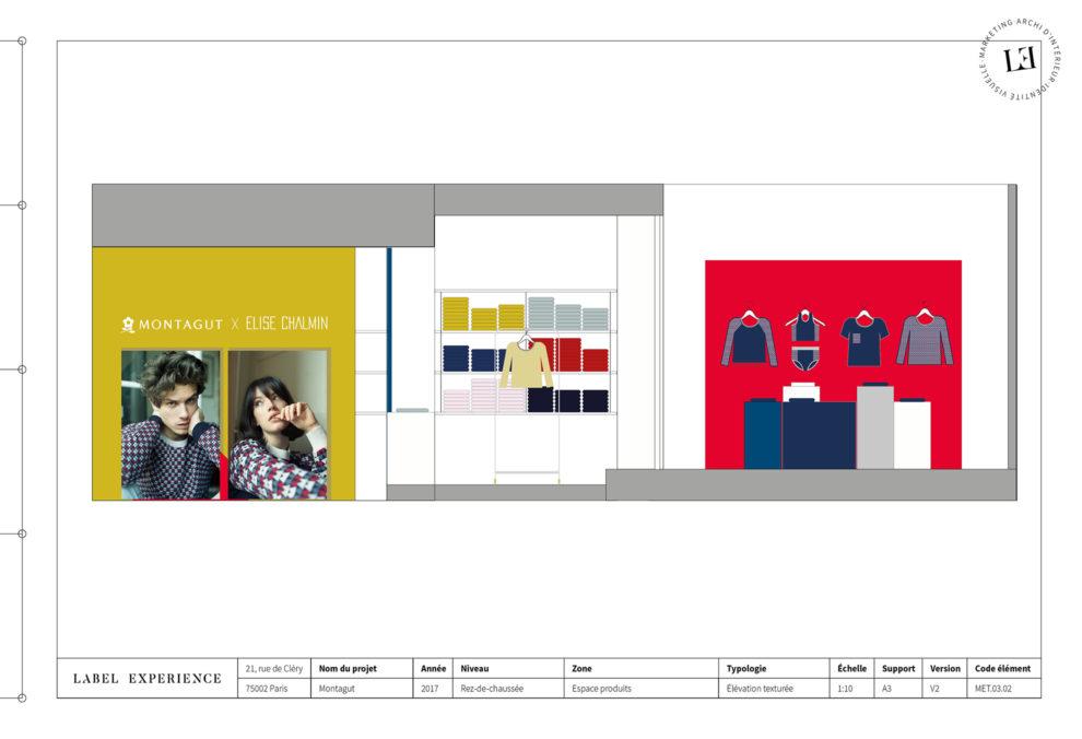 Label Experience: Croquis sur l'aménagement du pop-up store « Montagut » à Paris.