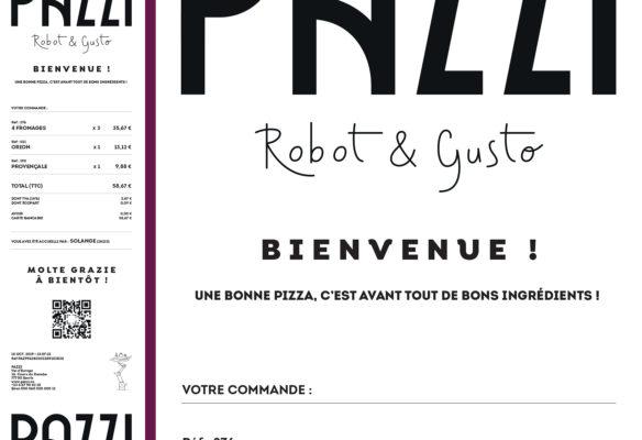 Label Experience : déclinaison de l'identité visuelle du restaurant Pazzi sur ses tickets de caisse