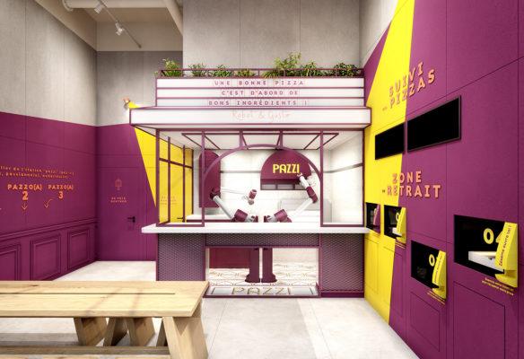 Label Experience : vue globale de la cuisine du restaurant Pazzi au centre commercial Val d'Europe