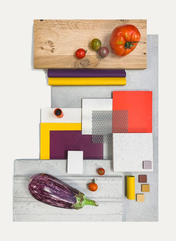 Label Experience : planche couleurs et matériaux utilisée pour la conception du restaurant Pazzi au centre commercial Val d'Europe