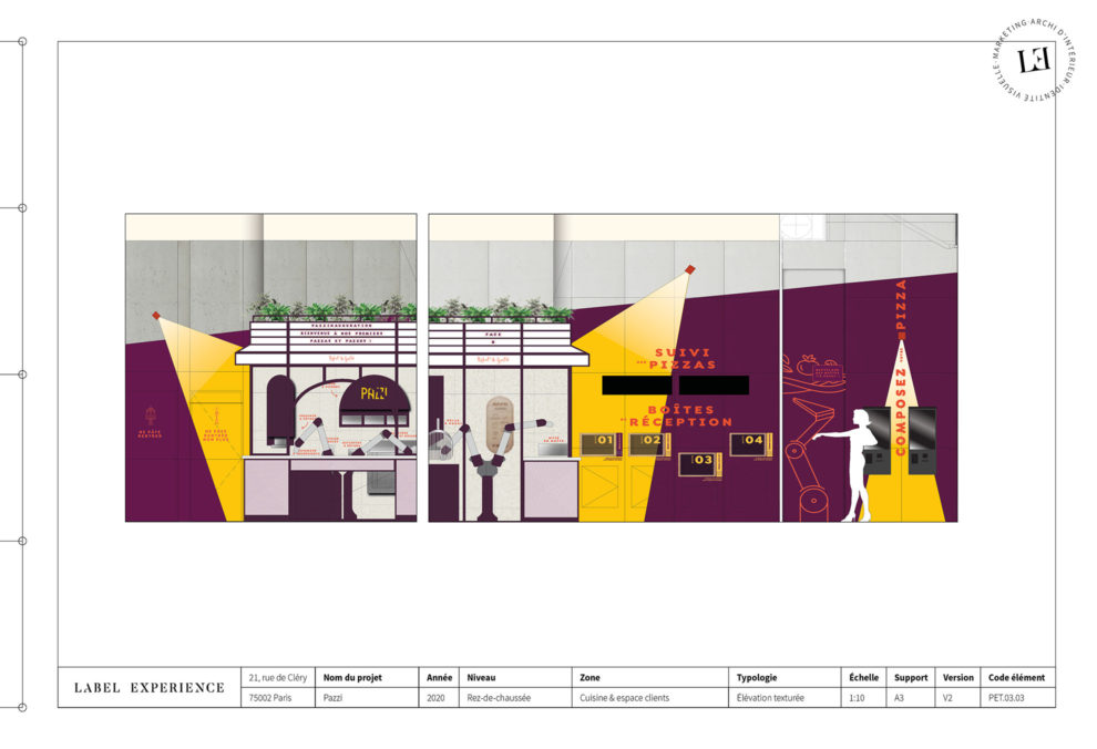 Label Experience : coupe architecturale du restaurant Pazzi au centre commercial Val d'Europe