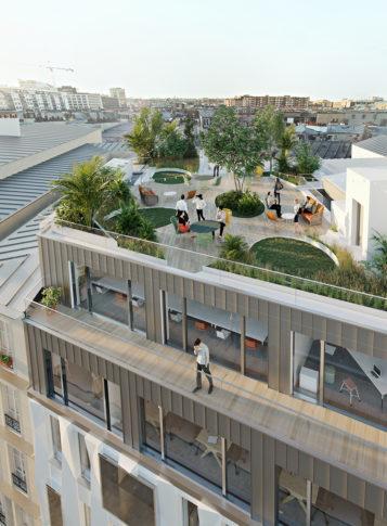 Label Experience : 3D du rooftop végétal du futur tiers-lieu « Raiselab » à Paris