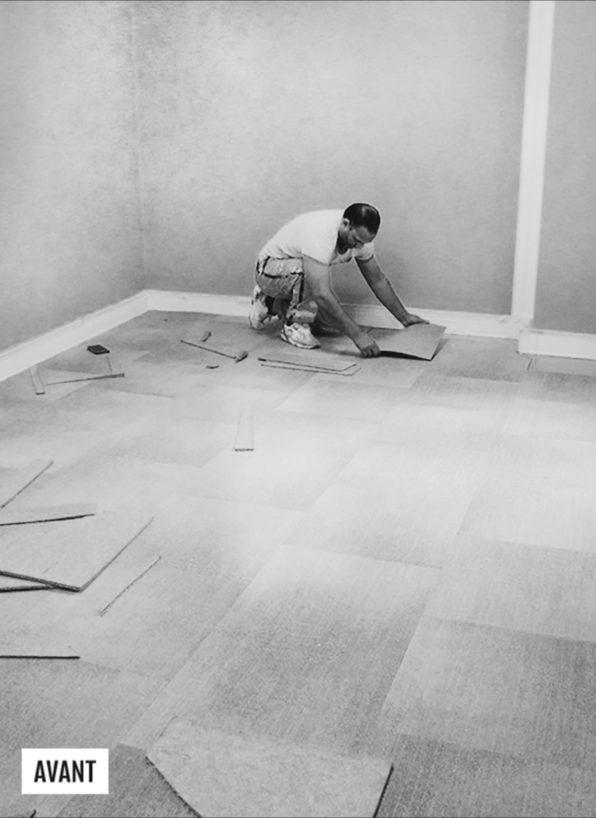 Label Experience : Image en noir et blanc du chantier en construction du nouvel espace de coworking de « Schoolab » à Saint-Lazare.