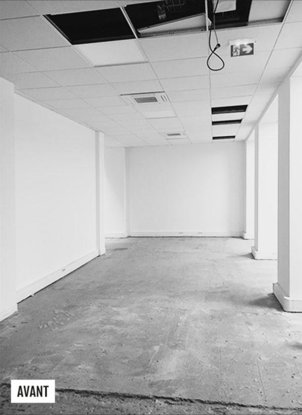 Label Experience : Image en noir et blanc avant chantier pour nouveau espace coworking de « Schoolab » à Saint-Lazare.