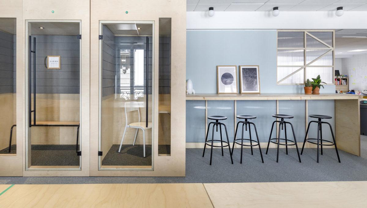 Label Experience: Espace calme d'isolation pour nouveau espace coworking de « Schoolab » à Saint-Lazare.