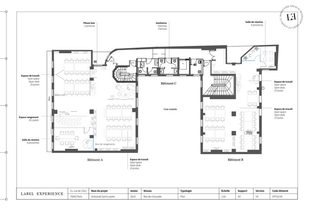 Label Experience: Plan architecturale du nouveau espace coworking de « Schoolab » à Saint-Lazare.