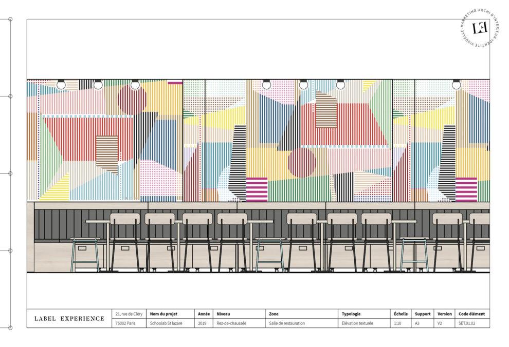 Label Experience : Croquis de la cafétéria colorée du nouveau espace coworking de « Schoolab » à Saint-Lazare.