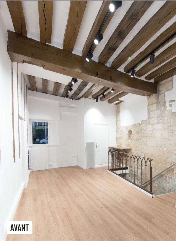 Label Experience: Image du deuxième étage de l'espace avant aménagement du pop-up « Shanty Biscuits » à Paris.