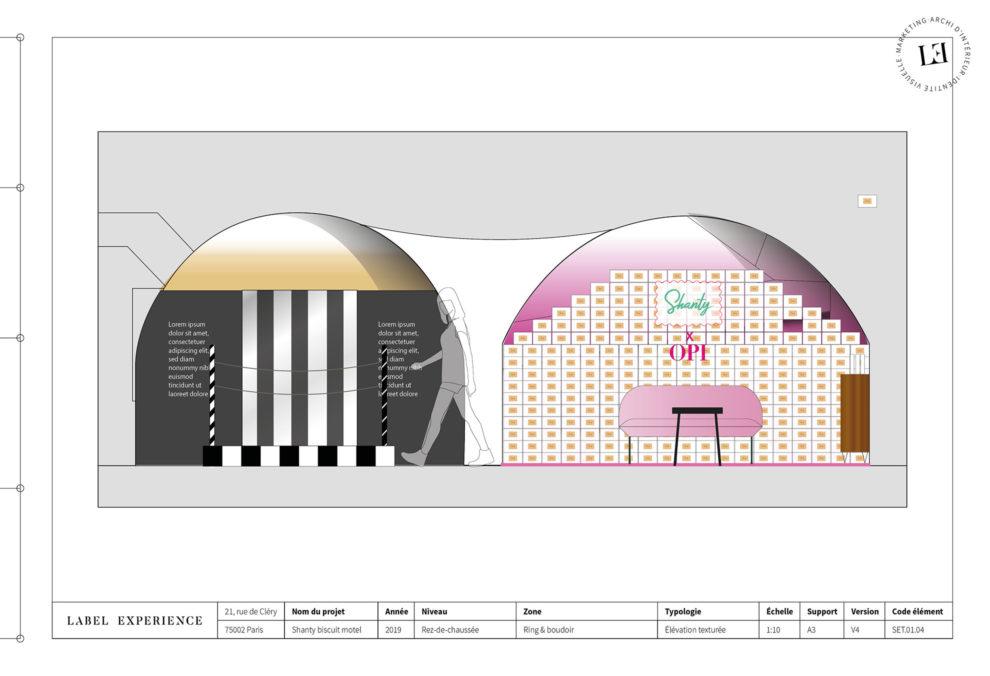 Label Experience: Croquis de deux espaces avec des ambiances différentes du pop-up « Shanty Biscuits » à Paris.
