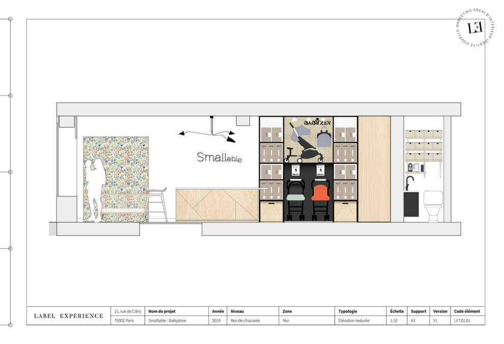 Label Experience : coupe architecturale du coté gauche de la boutique Smallable baby store à Paris.