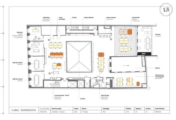 Label Experience: Plan vue d'en haut du bureau « Smallable » à Paris.