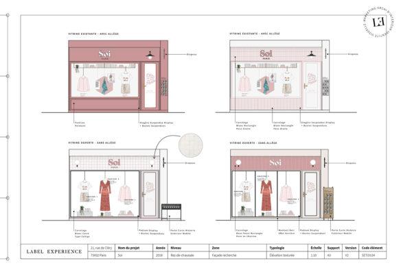 Label Experience : élévation de la façade de la boutique de vêtements Soi à Paris