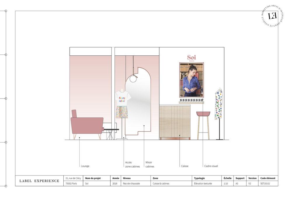 Label Experience : coupe architecturale de la caisse dans la boutique Soi à Paris