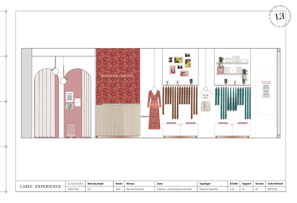 Label Experience : coupe architecturale de la boutique de vêtements Soi à Paris