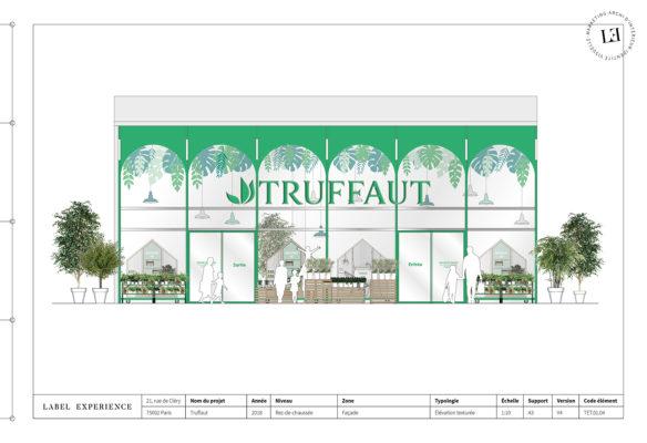 Label Experience: Croquis de la devanture de la boutique « Truffaut » à Boulogne.
