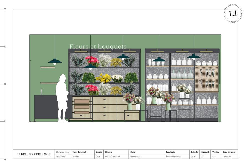 Label Experience: Croquis des étagères dans l'espace de vente de fleurs et bouquets de la boutique « Truffaut » à Boulogne.