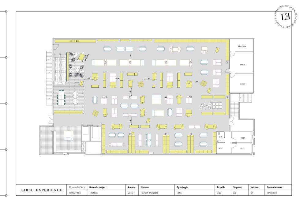 Label Experience: Plan vue d'en haut de la boutique « Truffaut » à Boulogne.