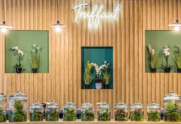 Label Experience: Neon et terrariums devant mur en bois de la boutique « Truffaut » à Toulouse.