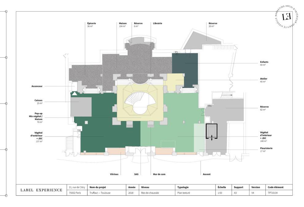 Label Experience: Plan des différents espaces de la boutique « Truffaut » à Toulouse.