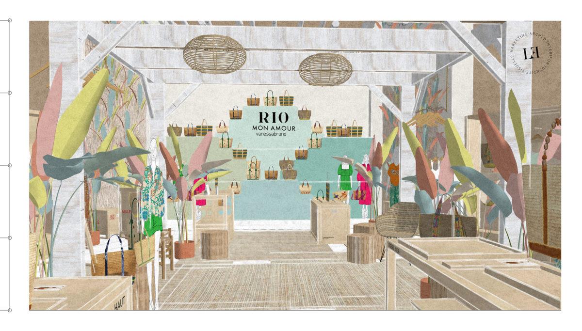 Label Experience: Image 3D du nouveau corner éphémère de Vanessa Bruno Rio dans les Galeries de Lafayette.