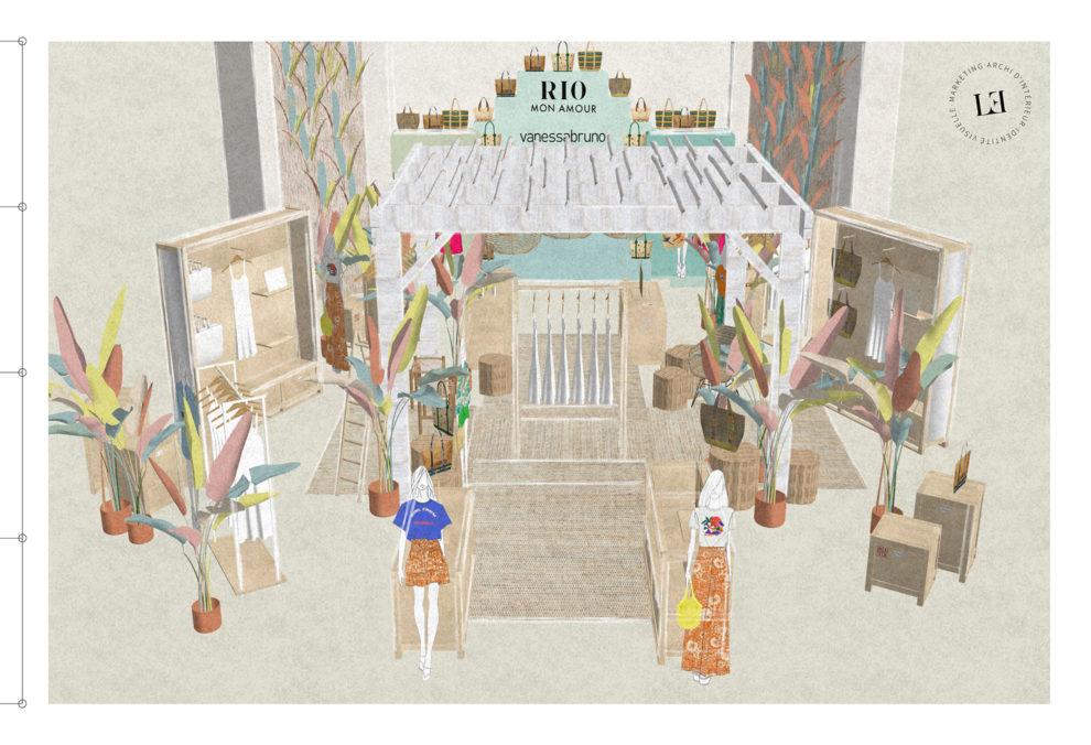 Label Experience: Image 3D d'espace sous pergola en bois pour corner éphémère de Vanessa Bruno Rio dans les Galeries de Lafayette.