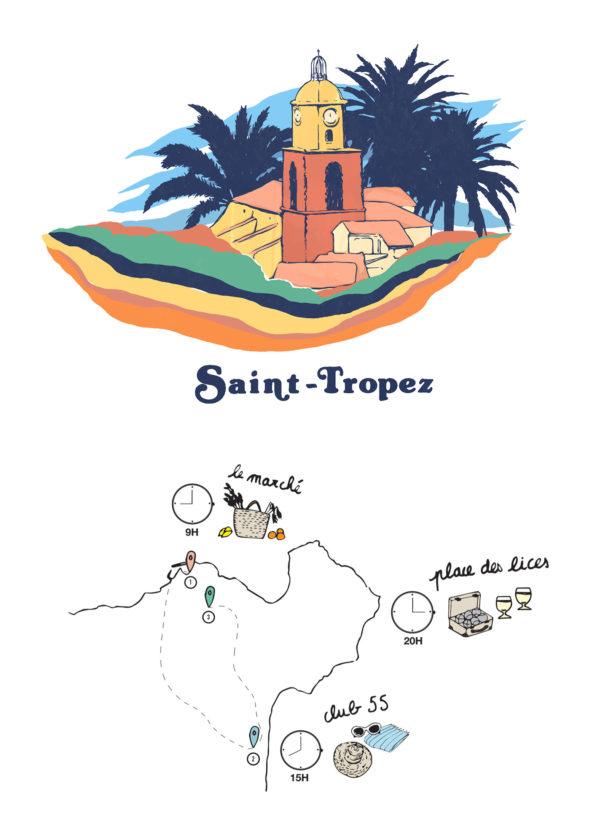Label Experience: Identité visuelle et carte créative du corner éphémère de Vanessa Bruno Saint-Tropez au Bon Marché.