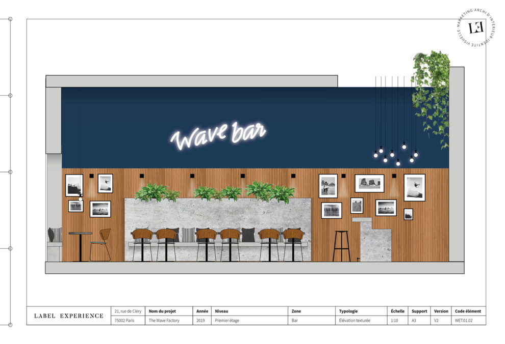 Label Experience: Croquis sur l'agencement du bar et restaurant du tiers-lieu « The Wave Factory » à Lisbonne.