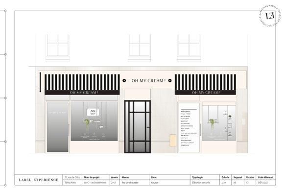 Label Experience: Croquis de la devanture de la boutique « Oh my cream ! » rue Debelleyme à Paris.