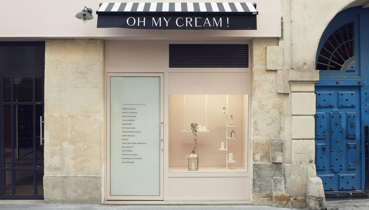 Label Experience: Entre deux grandes portes, devanture parisienne de la boutique « Oh my cream ! » rue Debelleyme à Paris.