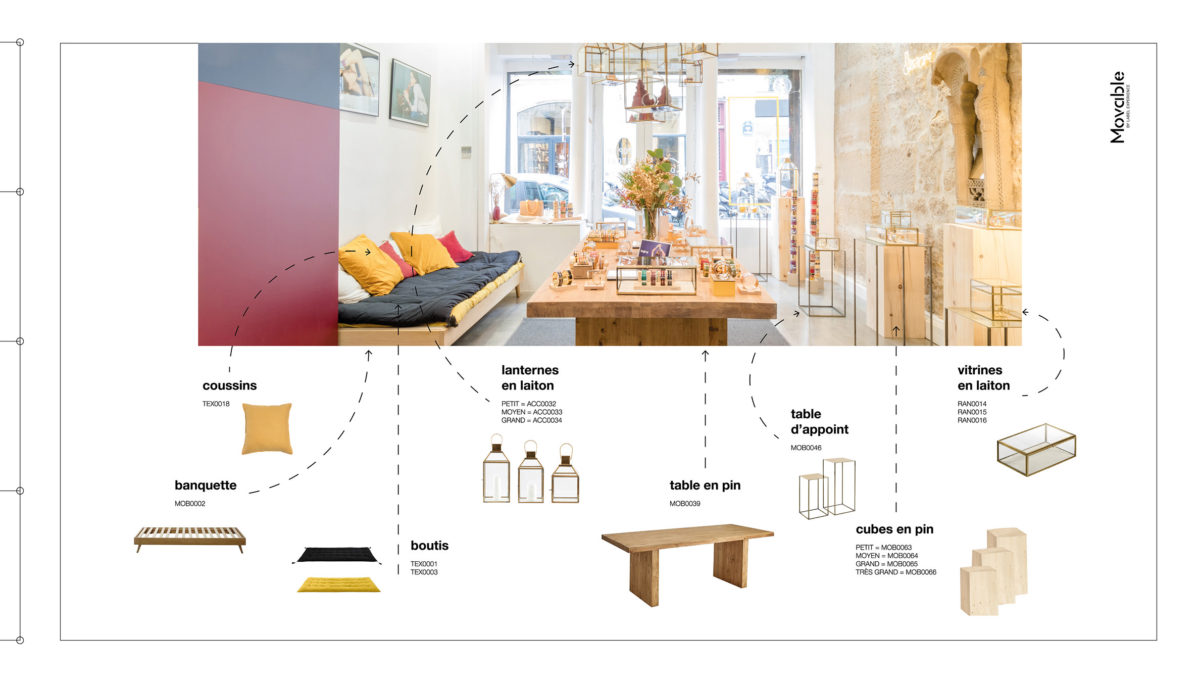 Label Experience: Moodboard de la décoration intérieur de la pièce principale du pop-up store « Bangle-Up » à Paris.