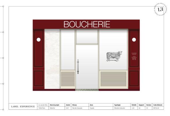 Label Experience : élévation de la façade du restaurant-boucherie Bidoche à Paris dans le quartier d'Oberkampf