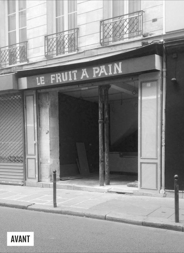 Label Experience : photo avant travaux de la façade du restaurant-boucherie Bidoche à Paris dans le quartier d'Oberkampf