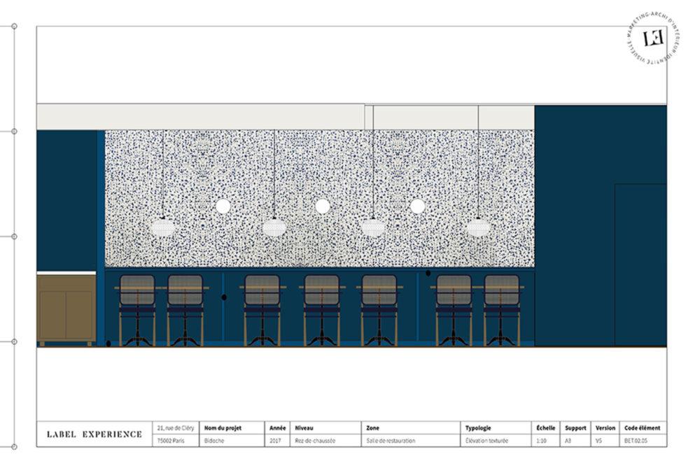 Label Experience : coupe architecturale du restaurant Bidoche à Paris dans le quartier d'Oberkampf