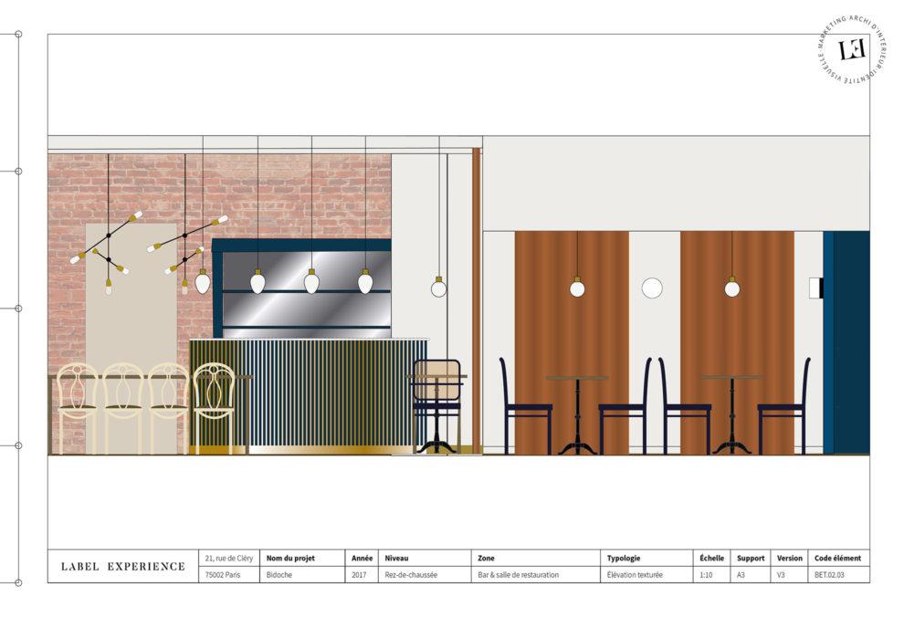 abel Experience : coupe architecturale du restaurant Bidoche à Paris dans le quartier d'Oberkampf