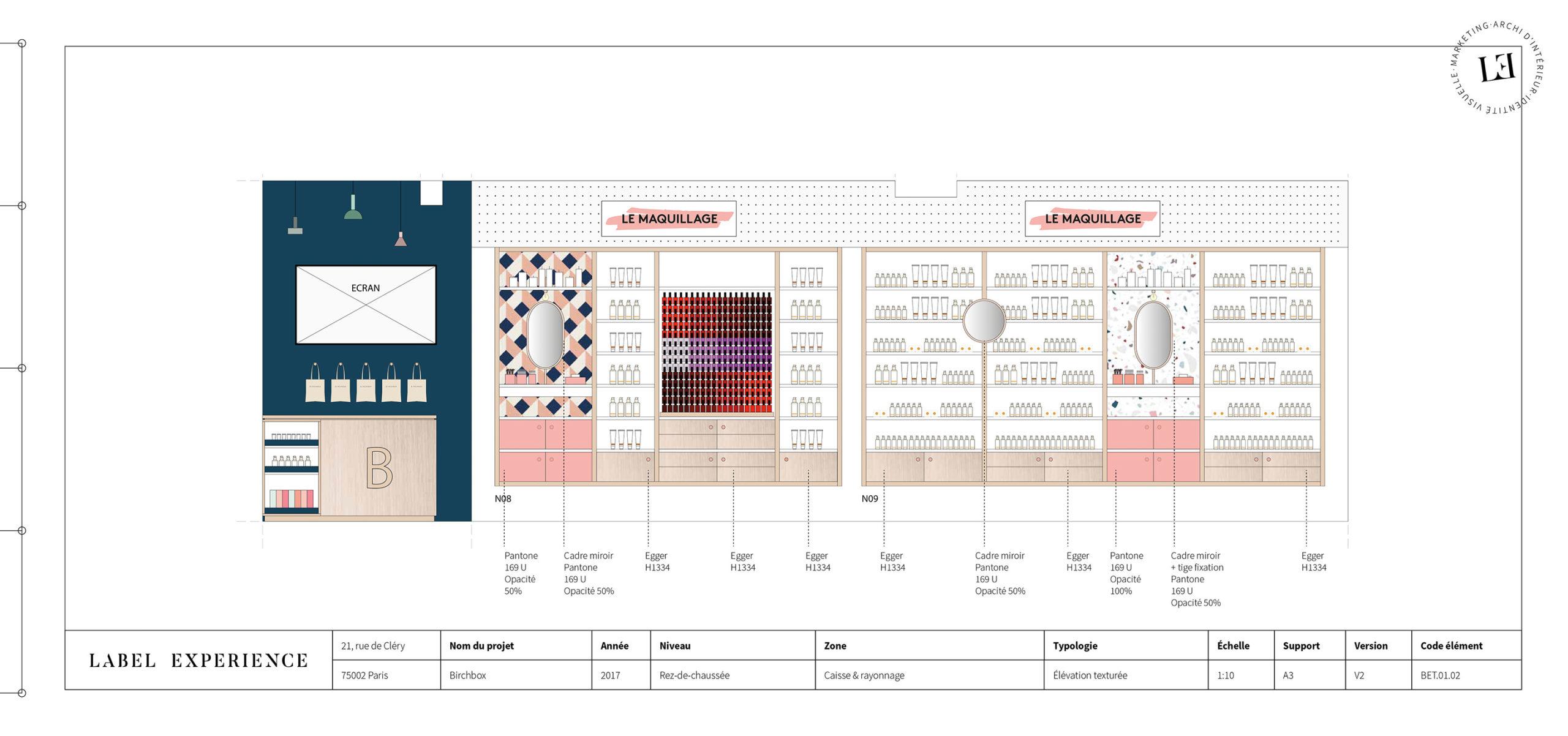 Label Experience : coupe architecturale de l'espace maquillage dans la boutique Birchbox à Paris