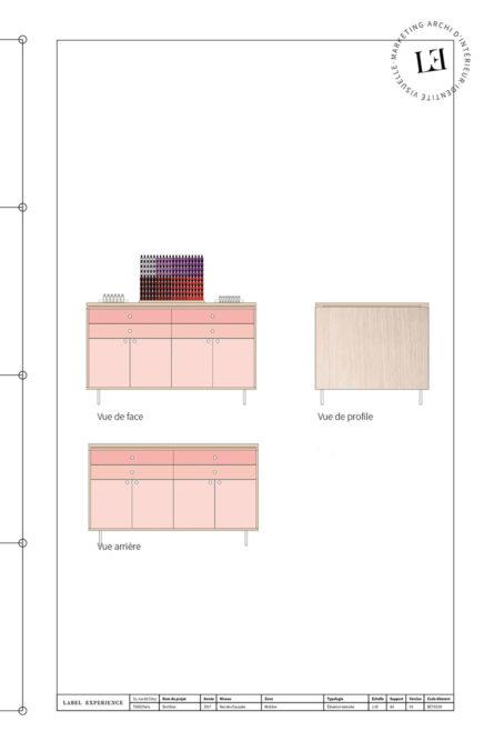Label Experience : plan du meuble à makeup dans la boutique Birchbox à Paris