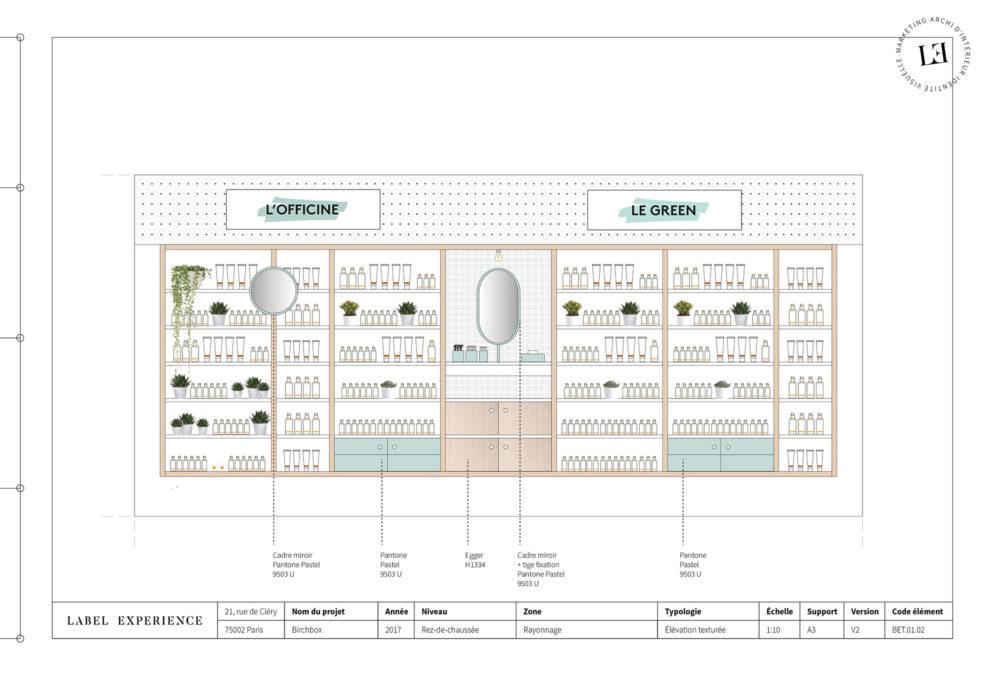 Label Experience : coupe architecturale de l'espace officine dans la boutique Birchbox à Paris
