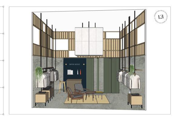 Label Experience : élévation intérieure de la boutique BonneGueule à Lyon