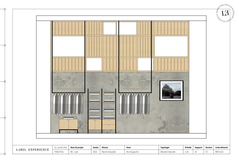 Label Experience : coupe architecturale de l'espace vente de la boutique BonneGueule à Lyon