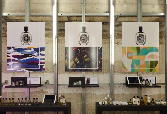 Label Experience: Affichage et exposition de produits du pop-up store de Diptyque à St Honoré, Paris.