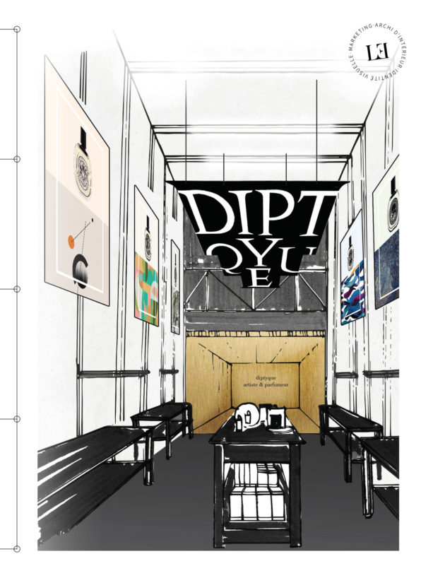 Label Experience: Croquis de l'intérieur du pop-up store de Diptyque à St Honoré, Paris.