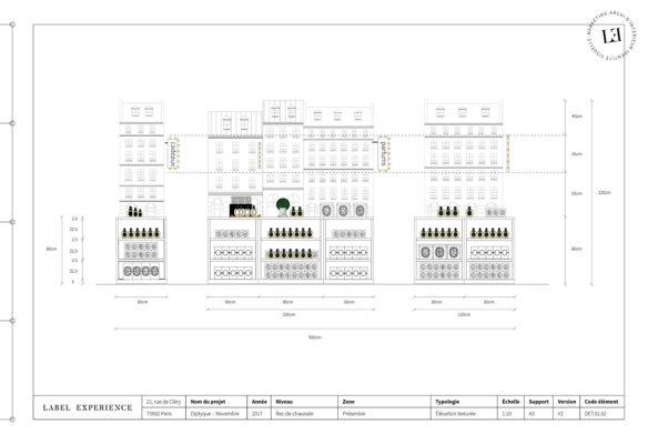 Label Experience : plan du mobilier sur-mesure du pop-up store constellation de Diptyque à Paris