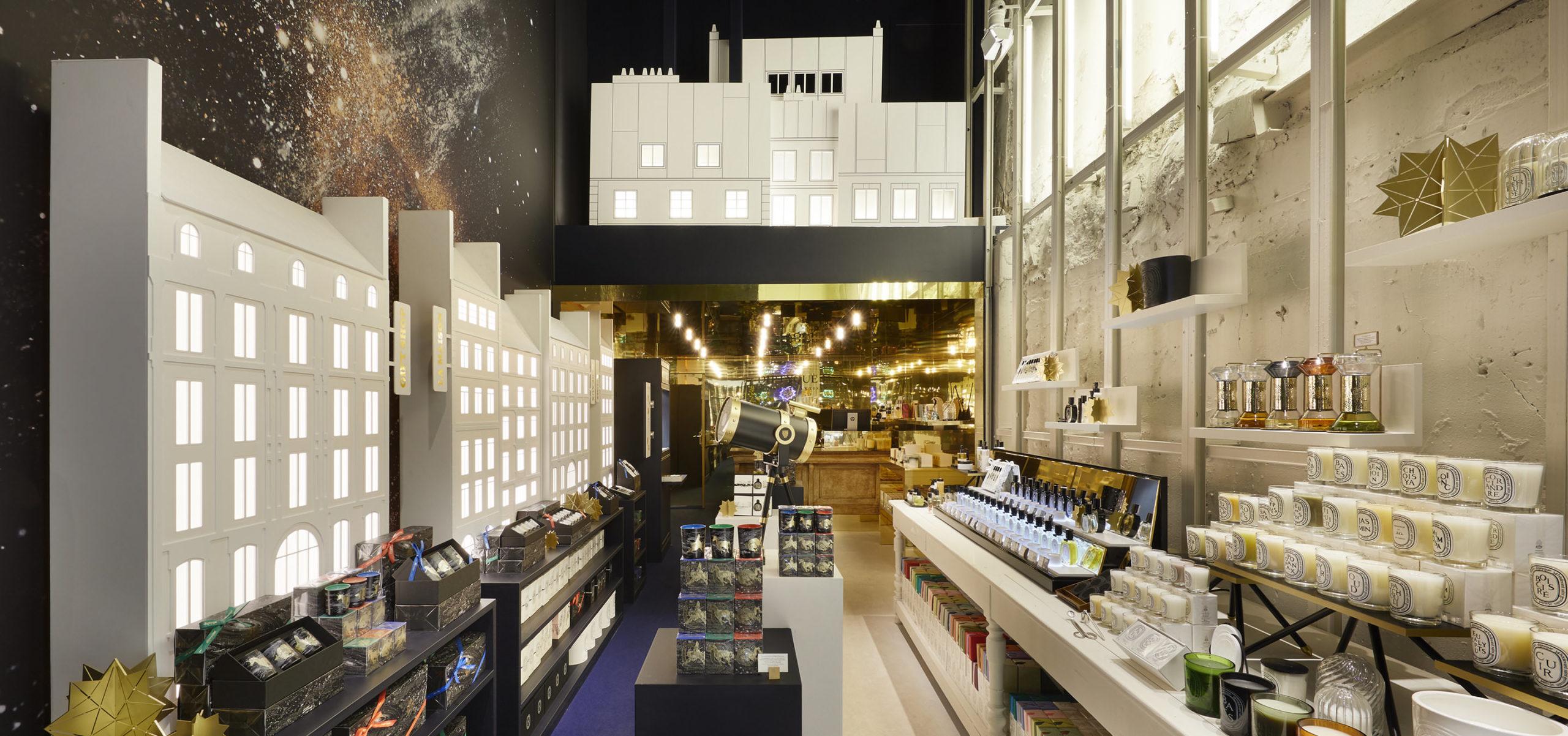 Label Experience : vue globale du pop-up store constellation Diptyque à Paris