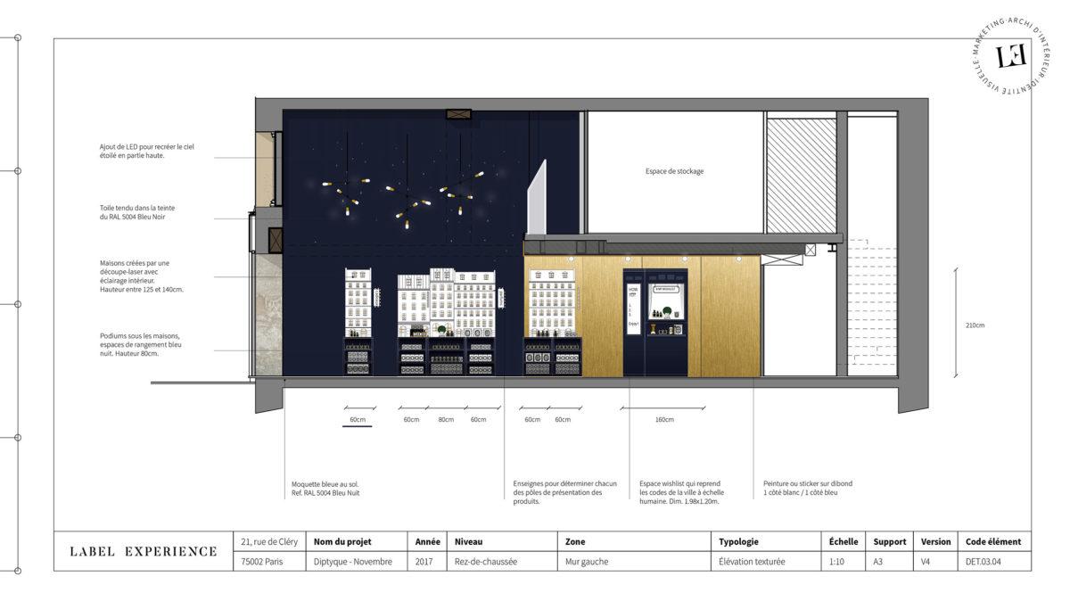 Label Experience : coupe architecturale du pop-up Diptyque, coté rue parisienne