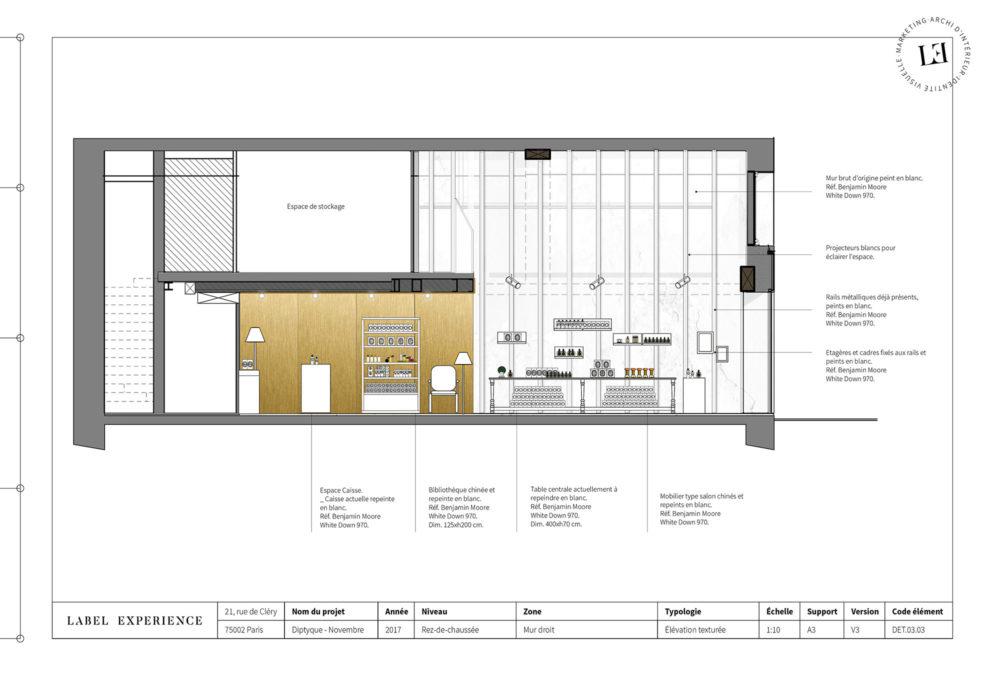 Label Experience : coupe architecturale du pop-up Diptyque, coté appartement