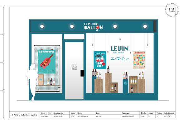 Label Experience : élévation de la façade extérieure de la boutique Le Petit Ballon à Paris