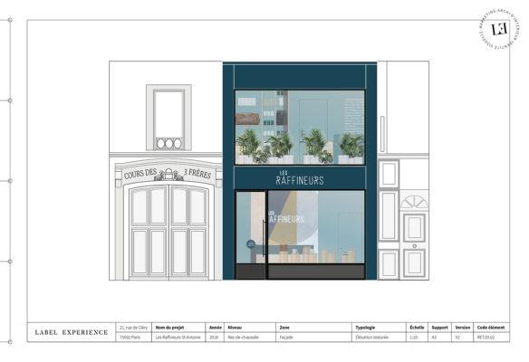 Label Experience : plan d'architecture de la façade de la boutique Les Raffineurs à Bastille