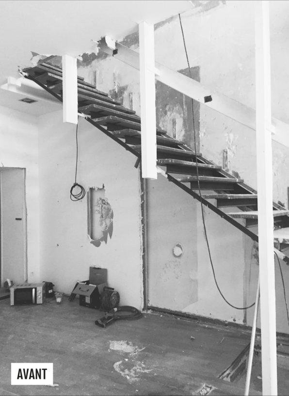 Label Experience : chantier de construction des escalier de la boutique Les Raffineurs à Bastille