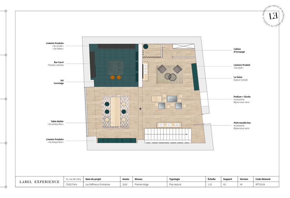 Label Experience : Les Raffineurs concept store Paris Bastille plan dessus boutique
